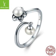 2017 Women 925 Sterling Silver Flower white Pearls Adjustable Open Adjust Ring