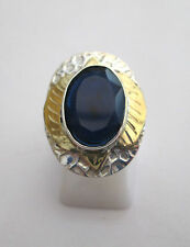 925 Sterling Silver Natural Deep Blue Sapphire Ring Size K 1/2, US 5.50 (rg2149)