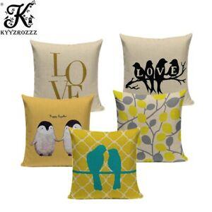 Fashion Yellow Color LOVE Bird Cushions Cover Heart Home Decor Pillow Cover
