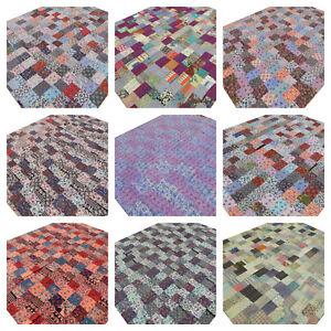 Quilt Kantha King Patchwork Bedspread Handmade Bed cover Blanket Floral India K5