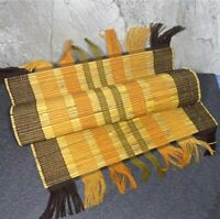 Set of 4) Straw/Bamboo & Silk Thread Williams Sonoma Fall Thanksgiving Placemats