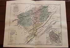 1850 Carte Géographique Atlas époque couleur Département 25 Doubs Besançon
