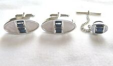 Vintage Swank Silver Tone Blue Faceted Rhinestone Cufflinks Tie Tack Pin Set