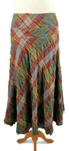 Jigsaw Size 10 12 Green Pink Multi Checked Flared Wool Mix Skirt Frayed Hem Boho