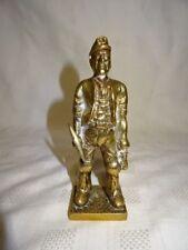 """Vintage Cast Brass 5.75"""" Model Of A Welsh Coal Miner (ref 2)"""