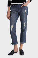 PIPER dark blue *NEW* $89.95 frayed distressed boyfriend embroidered Jeans 12