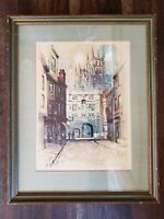 Vintage 60s Al Mettel Canterbury Cathedral Litho Christ Church Gate Signed Print