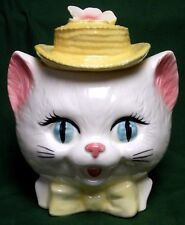 VTG Metlox Cat Kitten Ceramic Head Cookie Jar White Blue Eyes Yellow Hat & Bow