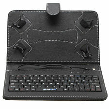 "New Micro USB 7"" PU Leather Keyboard Stand Case Cover for Tablet PC Black Gift"