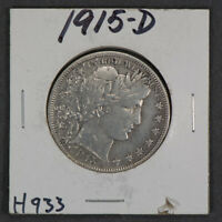 1915-D 50c BARBER HALF DOLLAR LOT#H933