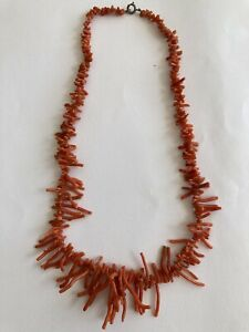 Vintage Red Coral Branch Necklace, Length 19 inches.