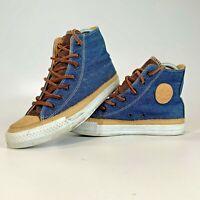 Rare Converse All Star Hi Top Sneakers Denim & Leather - size UK 4 EU 36.5 VGC