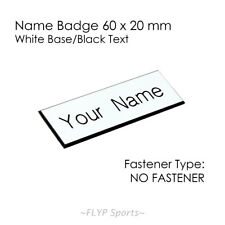 Name Plate White/Black NO FASTENER 6x2cm Label Sign Tag Plaque Badge Engraved