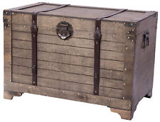 New Vintiquewise Old Fashioned Large Natural Wood Storage Trunk and Coffee Table