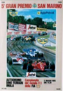 Original vintage poster GP F1 SAN MARINO 1985 WC CAR RACE
