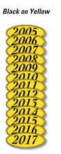 Car Dealer Windshield Oval Model Year Stickers, 4 Digit, Black and Yellow 05-17