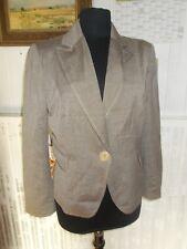 Veste blazer 1 bouton viscose/laine beige stretch CAROLL 40 doublé Made infrance