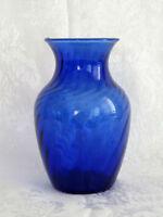 """Cobalt Blue Indiana Glass Swirl 5-1/2"""" Vintage Vase"""