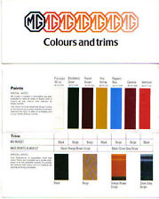 MG Midget, MGB & MGB GT Original Colours & Trim 1978 Pub. No. 3373