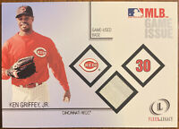 KEN GRIFFEY JR  2001 FLEER LEGACY MLB GAME ISSUE BASE RELIC CINCINNATI REDS