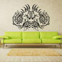 Wall Decal Elephant Ganesh Buddhism India Trunk Flower Yoga God Couple M218