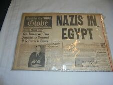 VINTAGE BOSTON EVENING GLOBE JUNE 25 1942 WITH RARE PIC *MUST SEE*