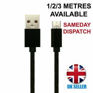 For Nokia 3.1 Charger Cable Micro-USB Black Braided Charging Lead 1M 2M 3M Long