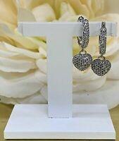 0.50 Ct Round Diamond Pave Set Heart Hoop Dangle Earrings 14K White Gold GP Gift