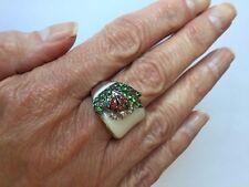 Genuine White Agate, Orange Sapphire & Tsavorite Ladybug Silver Ring Size 7