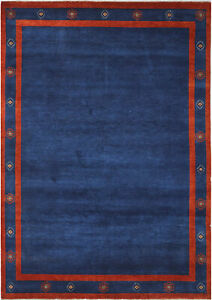 6X9 Hand-Knotted Gabbeh Carpet Tribal N/Blue Fine Wool Area Rug C0719
