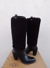 UGG BLACK TALL AVA EXPOSED FUR LEATHER HIGH HEEL BOOTS, US 9/ EUR 40 ~ NEW