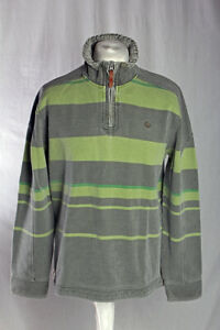 Fat Face Zip Neck Faded Look Pullover Green Grey Stripe Size M VGC!