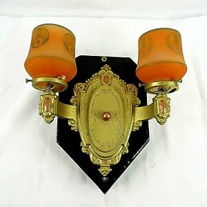 Wall Light Sconce Orange Gold Color Repainted Backing Electric Hanging Vintage