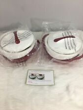 Pinnacle Set of 2 RED Thermal Hot/Cold Serving Bowls w/Lids Brand New K43208