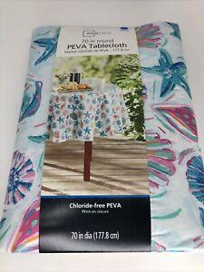 "Mainstays Fish Seashell Sea Ocean Vinyl Tablecloth Round 70"" Easy Clean NIP Blue"