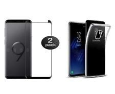 Samsung Galaxy S9 - 2 Films Protection écran Verre trempé incurvé + coque gel