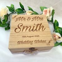 Wooden Wedding Wish Box Guest Book Alternative Vintage Rustic Drop Box Hearts