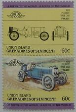 1913 PEUGEOT RACE Car Stamps (Leaders of the World / Auto 100)