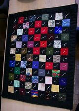 """AF0107 HANDMADE MINI QUILT #13 Wall Art 1 Patch 9.5 x 12"""" Tied Patchwork Black"""