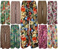 Womens Parallel Palazzo Wide Leg Printed Pants Ladies Plus size Trousers 8-26