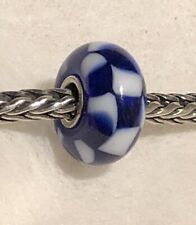 Trollbeads Ooak Navy Blue and White Checkerboard  RARE!!