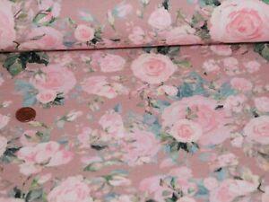 French Terry Sweet Roses Digital Altrosa 50x150cm Meterware Sommersweat