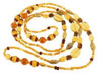 "Semi Antique Pretty Flapper Faux Amber Art Glass Necklace 46"""