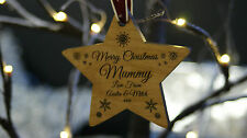 Solid Wood Personalised Christmas Tree Decoration Bauble For Mummy