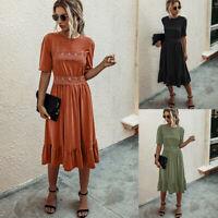 ❤Womens Boho Short Sleeve Midi Dress Ladies Casual Loose Summer Holiday Sundress