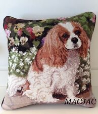 "Cavalier King Charles Spaniel Dog Needlepoint Pillow 14""x14"" NWT"