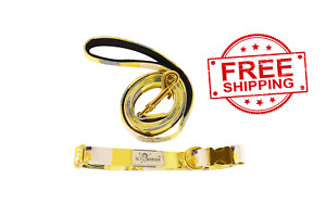 Yellow Floral Dog Walking Collar and Leash Set Gold Hardware Small Medium Large