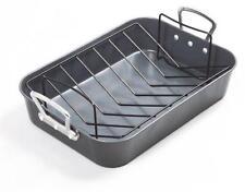 """Prochef 15"""" Roaster with V Shape Rack Premium Quality Teflon Silicone Coating"""