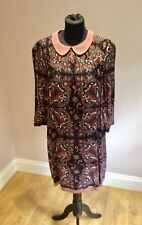 HOBBS PRETTY PAISLEY PRINTED DRESS WITH PETER PAN COLLAR. SIZE 10