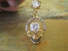 Skull Gold Titanium Plated Belly Button Navel Ring Body Jewelry Clear Gem Gothic